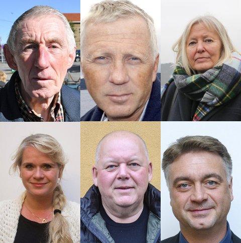 HAR SKIFTET PARTI: Øverst til venstre: Nils Sagstuen (Fra Ap til Pensjonistpartiet), Truls Breda (Fra Venstre til Høyre), Elisabeth Giske (Fra Ap til Høyre til Ap), Annette Farmann (Fra Ap til selvstendig), Per Kristian Dahl (Fra Ap til selvstendig) og Egil Lund Pettersen (Fra Frp til Høyre).