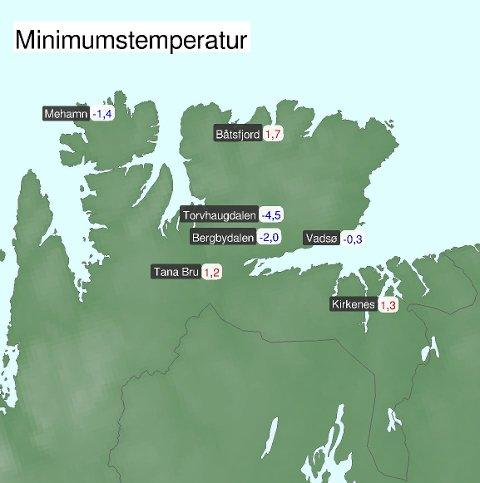 KALDT: Natt til tirsdag var det godt på minussiden flere steder i Finnmark.