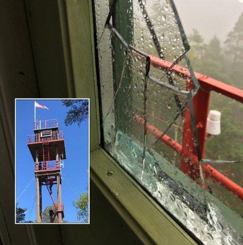 Linnekleppen: Vindusruta i tårnet var knust. Foto: privat