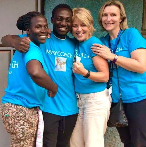 Faridah Blessing, Eric Ssenyonjo Marius, May Ruud Tennebø -  og Kathrine Angelita Konradsen, som sier at livet er endret etter det hun har opplevd med May coach i Uganda.