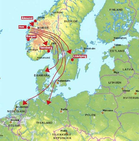 1900 km er den lengst reisa florø-søppelet legg ut på.