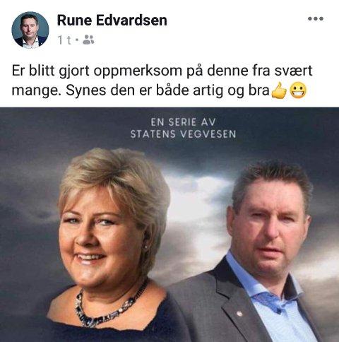 Svarer: Rune Edvardsen delte søndag kveld bildet på sin Facebook-profil, og delte sitt syn på den humoristiske parodien.