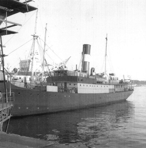 SANK: Akterskipet på den nordgående nattruten D/S «Jardarland» eksploderte da skipet gikk på en britisk mine på Slettå på morgenen fredag 31. mai 1940.