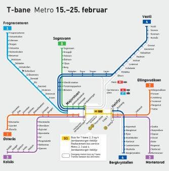 På grunn av vedlikehold på strekningen Jernbanetorget - Helsfyr, vil det bli buss for bane på kvelder og i helger.