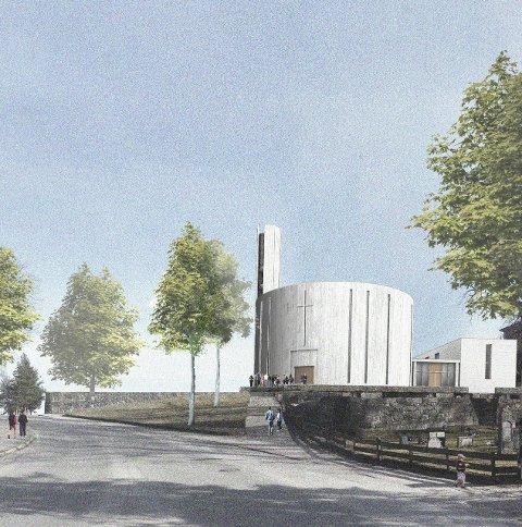 Her er kirkeforslaget Siren Johnsen sammenlikner med Vanntårnet. Forslaget heter «Lyset i skogen».