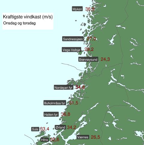 Dette kartet som meteorologene har sendt på twitter viser vindstyrken på utvalgte steder i Trøndelag og på Helgeland.