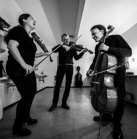 """IKKE HØYTIDELIGE:  Munor utgir fotoboken, """"Samspill"""". Til venstre Elga Akhaladze og Bernhard Gismervik på fiolin samt Tobias Tellmann på cello."""