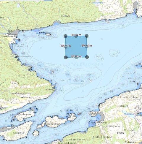 Alternativ: Eksempel på en mulig plassering av et havbruksanlegg i Stølefjorden.