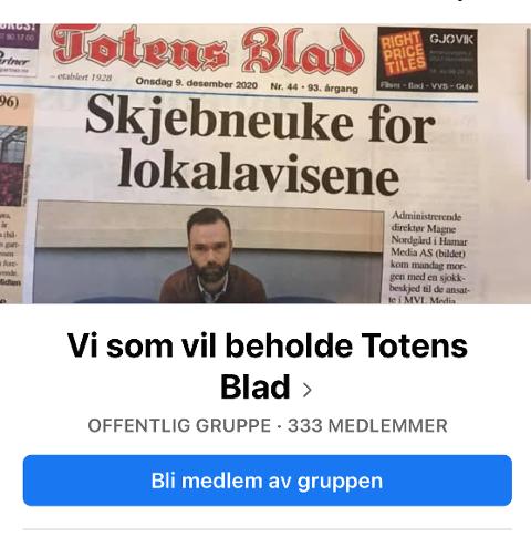 FÅR STØTTE: Det er opprettet en støttegruppe på Facebook mot at Hamar Media vil legge ned driften av lokalavisene Totens Blad og Gjøviks Blad.