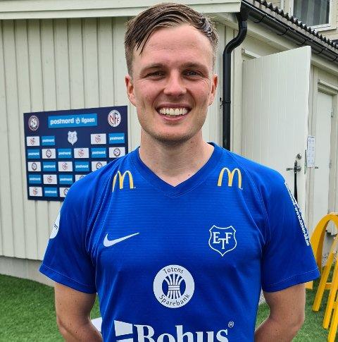 Ole Andreas Nesset ble tomålsscorer i returen på Myhrer Stadion. Det sørget for at Eidsvold Turn fikk en god start og tre poeng i PostNord-ligaen. Foto: Thomas Karlsen