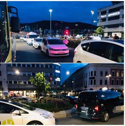 En bussjåfør har tatt disse bildene som illustrerer hvordan køen av taxier gjør det ufremkommelig for bussene i helgene.