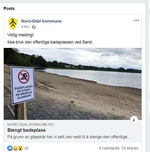 ADVARER: Nord-Odal kommune advarer publikum mot å ta i bruk badestranden ved Sand.