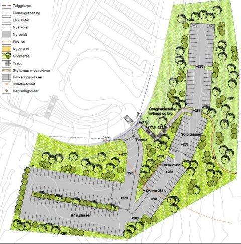 SKISSE: Slik kan det bli. De 97 plassene som er planlagt bygget først ligger lengst sør. Dagens parkering ligger i det hvite området i skissen.
