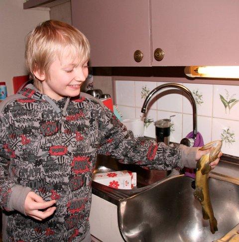 Fanget aure: Sondre Helgesen med fisken han fanget med bare nevene. Fisken endte opp i steikepanna hjemme på kjøkkenet. Fra HF 19. januar 2011.