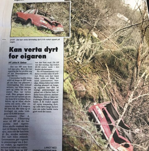 Faksimile: Bilvrak tippa utfor vegen. HF 22. januar 1996.