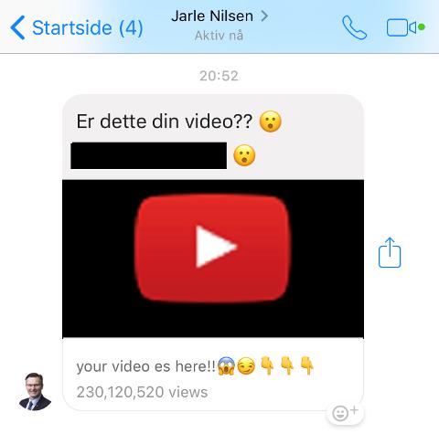 MÅ IKKE ÅPNES: Slik så meldingen som kom fra Jarle Nilsen sin Facebook Messenger onsdag kveld ut.