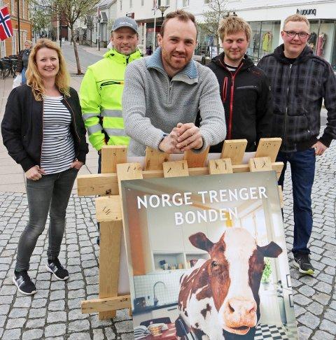 Bødenene Cathrine Grønbech (fra venstre), Yngve Herigstad, Per-Håkon Dalen, Glenn Johansson og Frank Nilssen med stand på Petter Dass' plass i forbindelse med jordbruksoppgjøret.