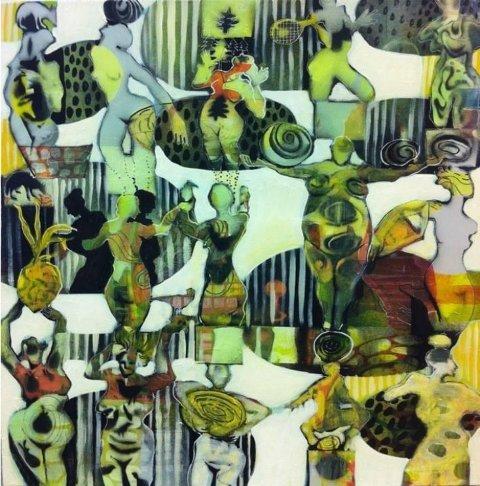 TYDELIG TEMA: Kvinner går igjen som motiv når fire kunstnere stiller ut sine verk på Haugum mølle i anledning kvinnedagen 8. mars. Her er verket «Til alle verdens damer» av Lise Brissach.