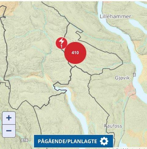 UTEN STRØM: 410 husstander mistet strømmen i Snertingdal-området torsdag morgen. Foto: Skjermdump