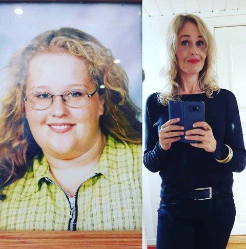 FØR OG NÅ: Lindis Iwar Brekke veide nesten 150 kilo før slankeoperasjonen. Men hun understreker at det er treningen som hjelper henne å holde seg mentalt sterk.