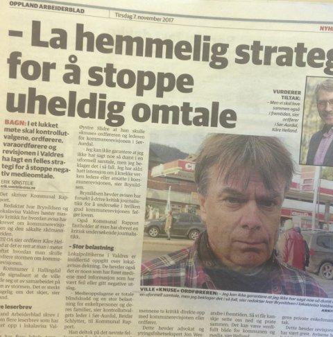 Media: Oppslaget i Oppland Arbeiderblad tysdag der sjefredaktør Ivar Brynildsen vart intervjua.