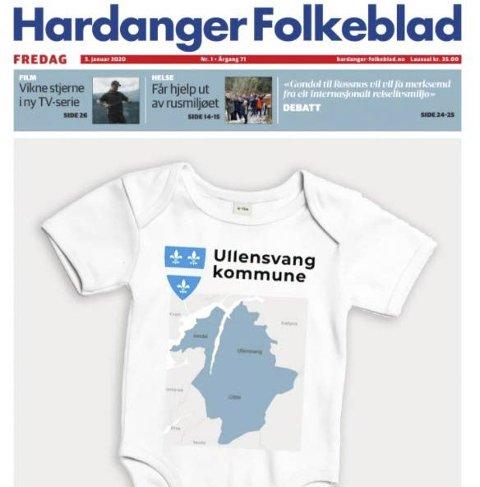Årets lokalavisside: Forsiden på HF, 3. januar 2020.