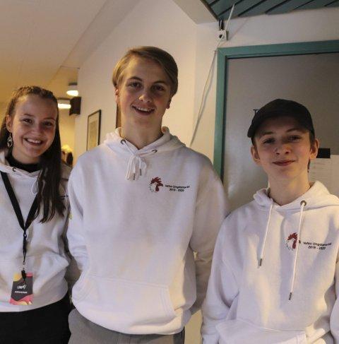 Arrangører: fv. Eila Eira, Isak Kvandal og Adam Ulvang er tre av dem som har vært med på å arrangere UKM i år, for Vefsn ungdomsråd. foto: Benedicte wærstad