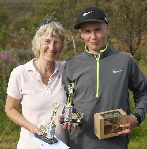 FINNMARKSMESTERE: Gunilla Hofvander og Johannes Betsi kan etter helga smykke seg med hver sin tittel som finnmarksmester i golf.