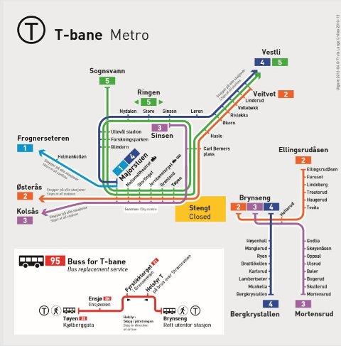 STENGT: Kartet viser hvilket område som holdes stengt i perioden.