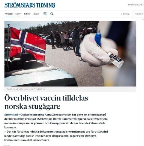 Lokalavisa i Strömstad med årets aprilspøk: Vil donere AstraZeneca-vaksinedoser til nordmenn på grensa.