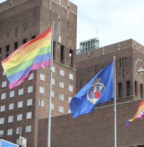 REGNBUEFLAGG: Oslo kommune har tidligere flagget med regnbueflagg. Alta bør også være så rause at man slipper det til uten å gjøre en stor sak ut av det.
