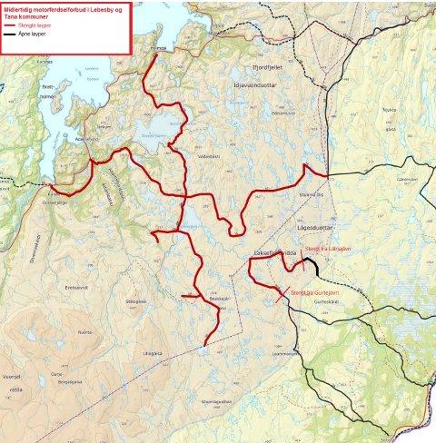 STENGES: Her er kartet som vises hvilke scooterløyper i Lebesby og Tana som stenges onsdag 11. mars. Løypene som stenges er markert i rødt.