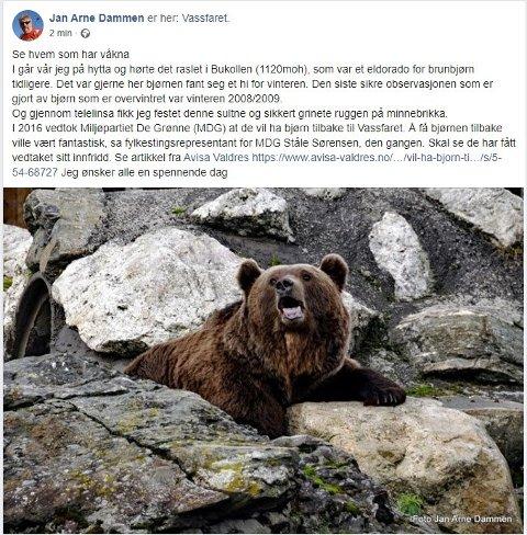 Jan Arne Dammen kunne avsløre at bjørnen var tilbake i Vassfaret.