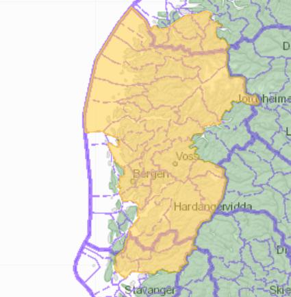 NVE melder om gul jordskredfare i det gule området.