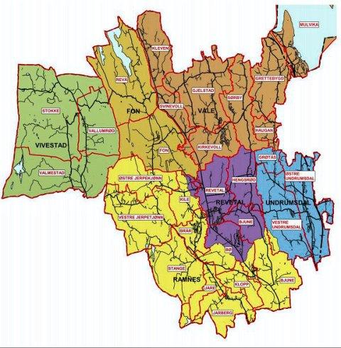 DØDT LØP: I Grettebygd, nordøst i Våle, er befolkningen omtrent delt på midten i spørsmålet om kommunetilhørighet.