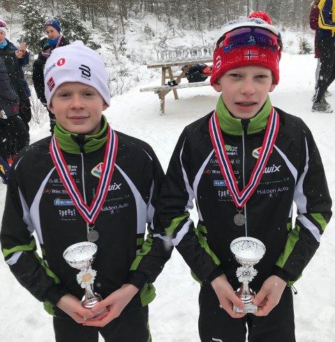 FLINKE: Sondre Signebøen (tv) og Per Morten Finstad fra TFL gjorde det bra under KM i langrenn.
