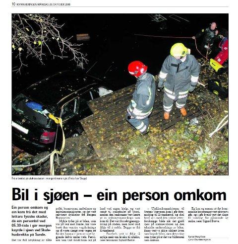 Ulukka der Rune Voll omkom var omtalt i Kvinnheringen 20. oktober 2008. (Faksimile).