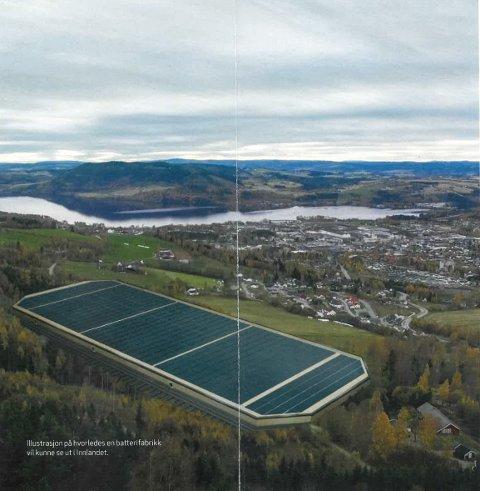 GIANT: Illustrasjonen viser hvordan en ny batterifabrikk vil kunne bli. Skjermbildet ble vist under konferansen på Ringsaker nylig.
