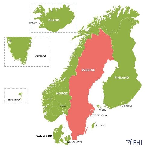 ÅPNER OPP I NORDEN: Alle regioner i Finland, Island, Grønland, Færøyene og Danmark oppfyller i dag de norske kriteriene. Danske myndigheter har vedtatt egne nasjonale regler for København-området som nordmenn som reiser til landet må forholde seg til. Store områder i Sverige oppfyller ikke disse kriteriene nå, og her vil det fortsatt være karantenekrav og begrensninger i adgangen til innreise til Norge. Foto: (Folkehelseinstituttet)