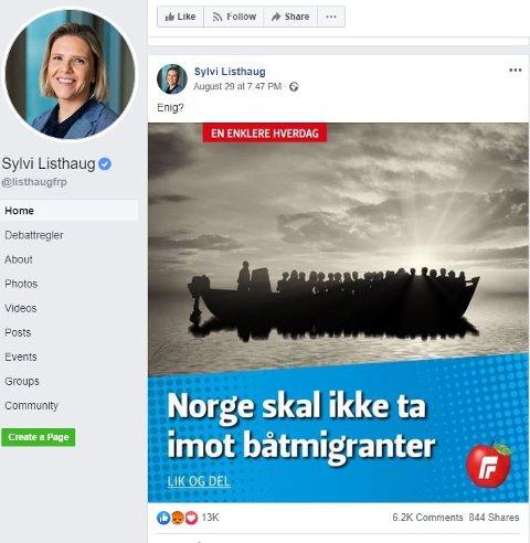 Sylvi Listhaug har igjen fått kritikk for en post på Facebook. – Nedrig, skriver Øystein Nigar.
