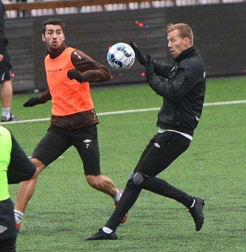 KLAR FOR MÅL: Joackim Olsen Solberg er sulten på å score mål mot Bodø/Glimt. Det har vært en uvanlig sesong, for veteranen er målløs så langt. Her på trening lørdag.
