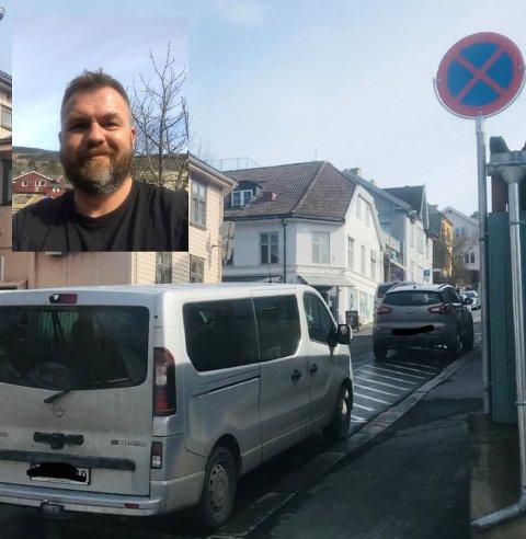 Tor Henning tok bilde av bilen sin, i nyvasket gate. På veggen rett ved bilen står all stans forbudt-skiltet han overså.