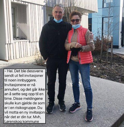 SKUFFET: Fredrik Berg-Nielsen og kona Unni Oftedal sto klare for å bli vaksinert torsdag formiddag, men skuffelsen ble stor da det viste seg at det ikke var deres tur likevel.