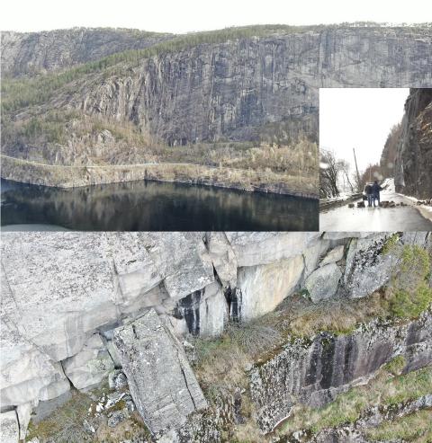 DOKUMENTASJON: Sirdal kommune har lagt frem dronebilder fra fjellet som bekrefter at det er mange store «slipper» som kan komme ned når som helst. Det er også oversiktsbilder og bilde av raset som gikk i februar 2020.