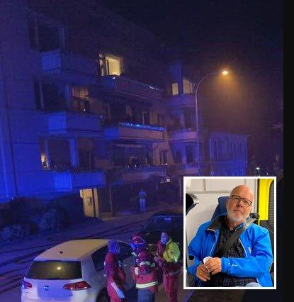 – Vi pustet gjennom fuktige håndklær, men fikk i oss en del røk, forteller Erling Omvik (innfelt). Litt etter klokken ett i natt ble han, kona Kari og fem andre naboer kjørt til Kalnes med ambulanse etter brannen i en leilighetsbygning i Dronningens gate 4 på Cicignon.