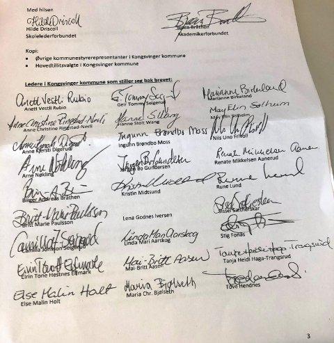FAKSIMILE: Her er siste side i brevet fra Skolelederforbundet og Akdemikerforbundet, hvor de krever rådmannen og kommunalsjefens avgang.