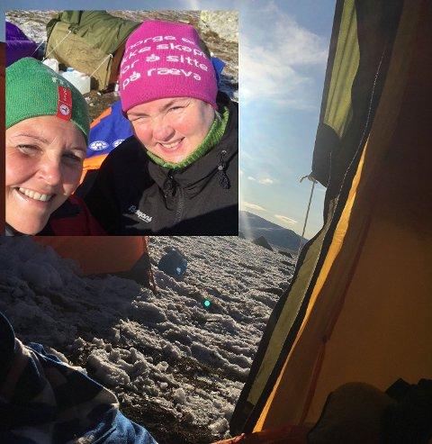 VÅKNET TIL DETTE: Et lite lag med nysnø møtte venninnene Gry Elin Venaas og Evelyn Merete Hansen fra Molde da de våknet lørdag morgen på Valdresflya.