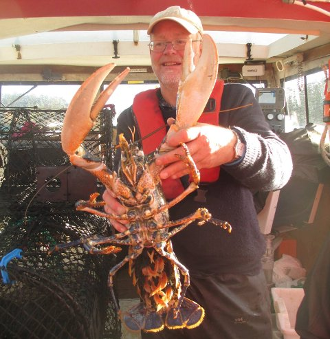 UNDERVISER: Leirskolerektor Inge Bentsen med en skikkelig fangst fra en tidligere anledning. Han understreker til KV at denne hummeren ble sluppet ut igjen.