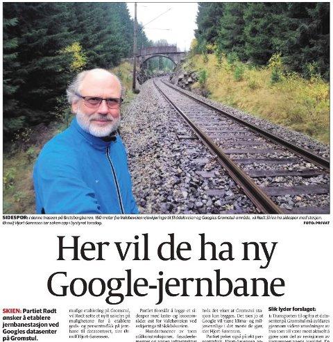 ANMELDT FOR DETTE: Bane Nor anmeldte bystyrepolitiker Ørnulf Hjort-Sørensen etter at han tok dette selvportrettet like ved sporet. Her ses en faksimile av saken og bildet i TA.