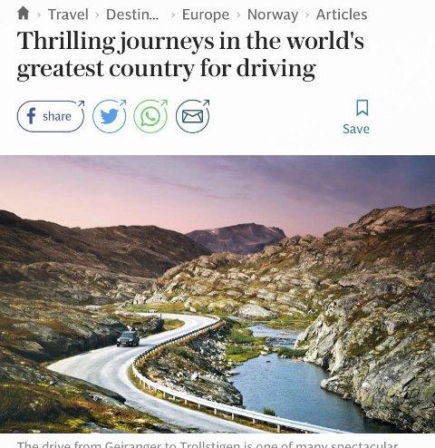 The Telegraph: Anbefalar biltur i Hardanger.